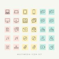 web multimédia set d'icônes vectorielles