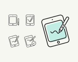 Tablette simple ou un stylo onglet icône plate vecteur