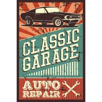 Illustration vectorielle avec l'image d'une vieille voiture classique, logos de conception, affiches, bannières, signalisation.