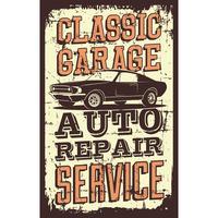 Illustration vectorielle avec l'image d'une vieille voiture classique, logos de conception, affiches, bannières, signalisation. vecteur