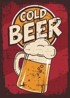 Vecteur de signalisation rétro vintage bière froide