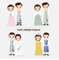 Collection de personnages de dessin animé mignon couple coréen vecteur