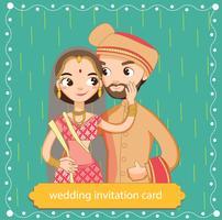 Adorables mariés indiens en costume traditionnel pour la carte d'invitations de mariage vecteur