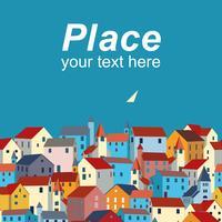 Modèle avec mer, maisons colorées et exemple de texte.