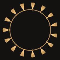 Cadre rond fabriqué avec une chaîne en or. Sur le noir. Illustration vectorielle