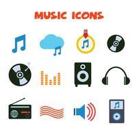 icônes de couleur de la musique vecteur
