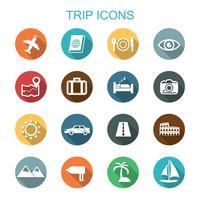 icônes de longue ombre de voyage vecteur