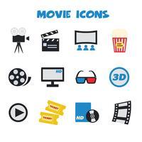 icônes de couleur de film vecteur