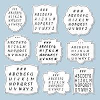 Un grand ensemble de cadres de différentes formes avec l'alphabet. Vecteur