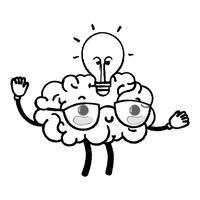 figure kawaii cerveau heureux avec idée ampoule vecteur