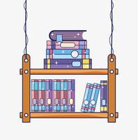 Caricature de bibliothèque en bois vecteur