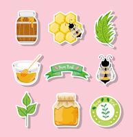 Étiquette de miel bio vecteur