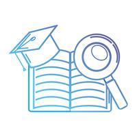 ligne cahier et graduation cap avec loupe
