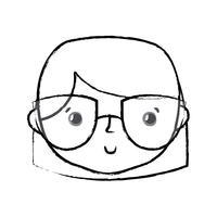 figure avatar femme tête avec une coiffure vecteur