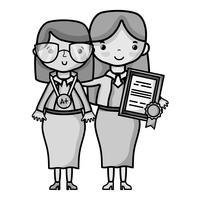 enseignant en niveaux de gris avec élève à la leçon d'éducation de classe vecteur