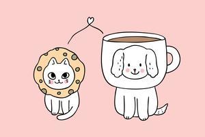 Vecteur de dessin animé mignon chien et chat.