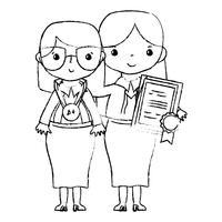 figure enseignant avec étudiant à la leçon d'éducation de classe vecteur