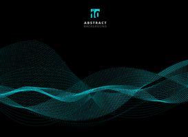 Motif abstrait points vagues de particules bleues sur fond sombre avec espace de copie.
