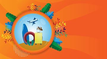 Voyage d'été et temps de vacances. Palmier tropical moderne de vacances, feuille de bananier. conception d'illustration vectorielle.