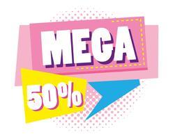 Mega soldes rabais affiche style Memphis