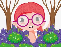 Belle fille à la forêt