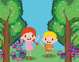 Enfants mignons à la forêt