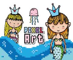 Dessins du monde aquatique pixel art vecteur