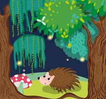 Porc-épic mignon en forêt