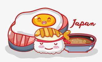 Gastronomie japonaise: dessins animés kawaii vecteur