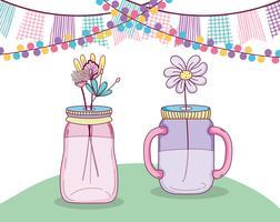 Bouquet de fleurs dans un vase en bocal
