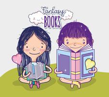 Filles avec des livres