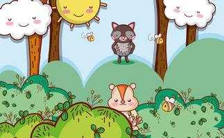 Animaux mignons dans la forêt vecteur