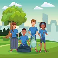 Bénévoles de nettoyage de parc