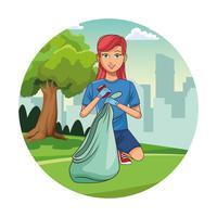 Caricature de fille bénévole nettoyant le parc vecteur