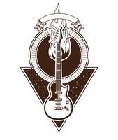 Rock and roll emblème vintage avec des dessins vecteur