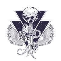 Rock and roll emblème vintage avec des dessins
