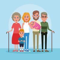 Caricature famille avec enfants