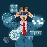 Caricature de pop art de réalité virtuelle homme d'affaires vecteur