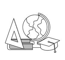 globe terrestre avec ensemble fournitures école