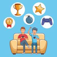 Ados et jeux sur smartphone vecteur