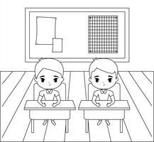 petit étudiant assis dans la salle de classe