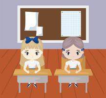petites filles étudiantes dans la scène de la classe