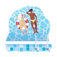 couple interracial avec maillot de bain et flotte dans l'eau