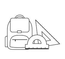 sac d'école avec fournitures scolaires