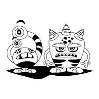 personnages monochromes comiques monstres