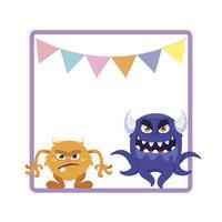 cadre carré avec monstres rigolos et guirlandes suspendus