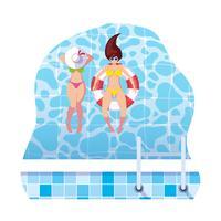 filles avec maillot de bain et maître nageur flottent dans l'eau