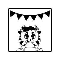 cadre carré avec guirlandes de fête monstre et cornes