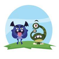 couple de monstres rigolos sur le terrain des personnages colorés