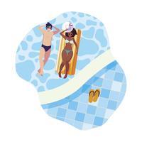 couple interracial avec matelas flottant dans l'eau